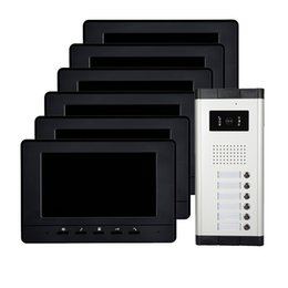 "Wholesale Cheap Video Intercoms - cheap Apartments wired video door phone 7"" screen ABS plastic cover 6 buttons infrared night vision and rainproof intercom system"