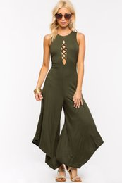 Wholesale Black Cotton Bandage Pants - Fashion Black Army green Long Rompers Womens Jumpsuit Winter Spring Party O-neck Hollow Out bandage halter Loose Irregular Wide leg pants