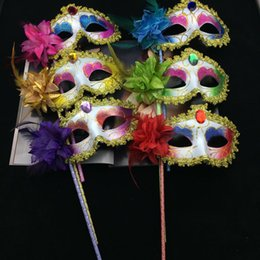 Wholesale Xmas Half Mask - Pointed Venetian Masquerade Maks Feather Flower Gem Sparking Mask On Stick Costume Halloween Carnival Hand Held Party Mask Xmas Gift