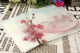 Wholesale Peach Paper - Wholesale- Envelopes beautiful Peach blossom Sulfuric acid paper decoration theme storage envelope   wholesale discounts   free shipping
