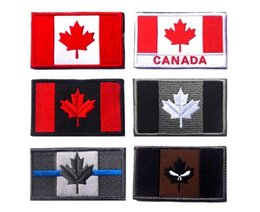 Wholesale Sew Skull Patches - VP-112 3*2 inch 3D Embroidered patches Canada flag Skull Tactical Isaf Attack Badge patches outdoor badges sew on patch