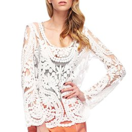 Wholesale Long Basic Top - Women Sexy Lace blouse full sleeves 9 colors Crochet feminine tops blusas casual slim off shoulder basic shirts hollow out smock
