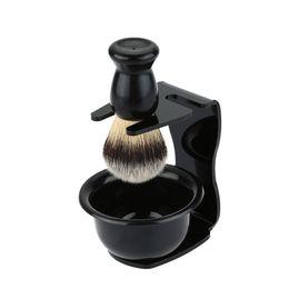 Wholesale Hair Bowls - 3 In 1 Shaving Soap Bowl +Shaving Brush+ Shaving Stand Bristle Hair Shaving Brush Men Beard Cleaning Tool Gift