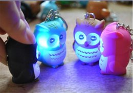 Wholesale Keychain Light Luminous - Wholesale- Novelty LED Owl light Luminous Keychain Sound Voice Glowing Pendant Flash Creative Children Toy Gift for Lovers free shipping