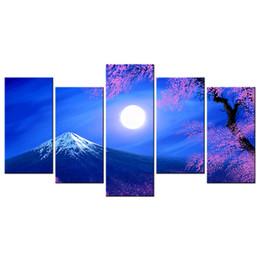 Wholesale Canvas Mounting - Mount Fuji Cartoon Pictures Canvas Artwork Japanese Cherry Blossom Scenery Printed on Canvas Multi-Panel Canvas Print