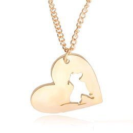 Wholesale Pit Bulls Animals - PitBull Necklace Pendant Pit Bull Heart Pendant Dog Memorial Pet Necklaces & Pendants Women Animal in heart cut off Charms Christmas Gift