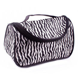 Wholesale Zebra Cosmetic - Discount Cheap Zipper Makeup Clutch Zebra Pattern Women's Travel Storage Cosmetic Bag Free Shipping 20*12*10cm ELB066