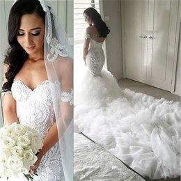 Wholesale Tiered Ruffled Organza Mermaid Wedding Dresses - 2016 New Style Gorgeous Organza Wedding Dresses Full Lace Appliques Sweetheart Ruffles Chapel Train Plus Size Mermaid Bridal Gowns Arabic