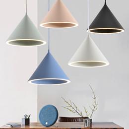 Wholesale Halo Art - Unique creative Nordic restaurant bar round halo chandelier Pendant Lamps Led macaron aluminum design art chandelier