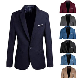 Wholesale Mens Fitted Casual Coats - Wholesale- Stylish Mens Men Casual Slim Fit Formal One Button Suit Blazer Coat Jacket Tops