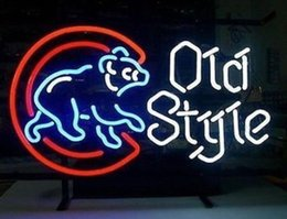 """Wholesale Old Bar Signs - 17"""" x 14"""" MLB CHICAGO CUBS OLD STYLE BASEBALL BEER GLASS NEON BAR PUB LIGHT SIGN"""