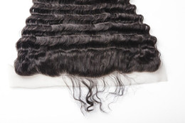 Wholesale Cheap Quality Malaysian Hair - Lace Frontal Closures 100% Unprocessed Brazilian13*4 deep Wave Human Hair Cheap Lace Frontals Free Part With Bleached Knots Best Quality