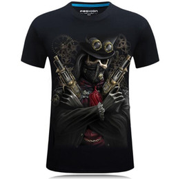Wholesale Pirate Shirts - 2017 new hot style 3D short-sleeve men's T-shirt with a large size collar T-shirt with a capsize - pirate death song