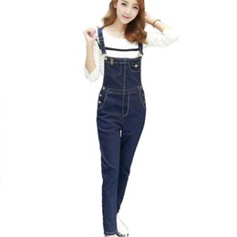 Wholesale Korean Girl Jeans - Wholesale- 2016 summer New fashion Plus size Korean New Womens Jumpsuit Denim Overalls Casual Slim Girls Pants Jeans Overalls Free shipping