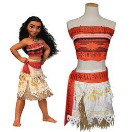 Wholesale Girls Cotton Belt - Girls Moana cosplay clothing 4pc set tube top+belt+skirt+grass skirt family matching Moana cosplay dress costumes