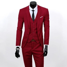 Wholesale Men S Double Breasted Suits - Wholesale- (Jacket+Vest+Pants)Men Slim Fit Suits Plus Size S- 3XL Mens Black Wedding Suits With Pants Business Mens Formal Wear