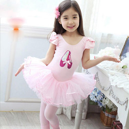 Wholesale Dance Naturals Shoes - 2017 new Girl Shoes Ballet Dance Costume Party Leotard Dress Size 3- 8 years old free shipping