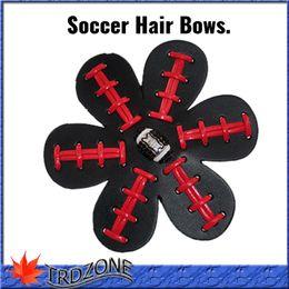 Wholesale African Bowl - 4 inch Softball Baseball Football Leather Hair Flower Hairclips Seamed Hair Bows Team Colors Rhinestone Super Bowl