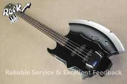 Wholesale Pickup Covers - RARE Xort GENE SIMMONS AXE Signature Guitar Black 4 Strings Electric Bass Guitarra Chrom Pickup Cover In Stock For Sale
