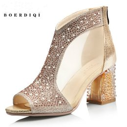 Wholesale Open Toe Diamond Ankle Shoes - Spring and summer new products sandals women 's shoes sheepskin fish mouth thick high - heeled diamond roma boots 2380