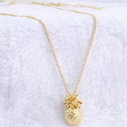 Wholesale Tiny Gold Pendants - Wholesale-Tiny Pineapple Fruit Cute Charm Long Sweater Chain Necklace Summer Jewelry Gold Plated