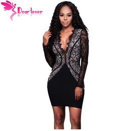 Wholesale Dear Dress - Wholesale- Dear Love Lace Party Night Dress Autumn 2016 Little Black Scalloped V Neck Long Sleeve Mini Dress Vestido Curto de Renda LC22822