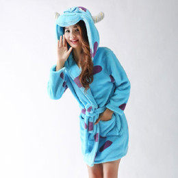 Wholesale Plus Size Towels - Wholesale- Sully Pajama Plus Size Nightgrown Towel Bath Robe Animal Hooded Robes For Women Spring Autumn Winter Bathrobes