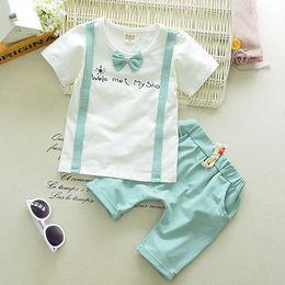 Wholesale Kids Wear Summer Shirts - Gentleman Style Baby Boys Clothes Sets Summer Wear Infant Suits Bowknot T Shirt+Pants Cotton Kids Suits Children Casual Suits