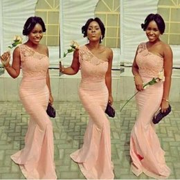 Wholesale Top Quality One Shoulder - 2017 High Quality One-shoulder Pink Bridesmaid Dresses Lace Top Elastic Satin Mermaid Maid Of Honor Party Gowns
