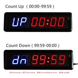 Wholesale Digital Wall Clock Pieces - Wholesale-Tabata Hiit Fitness Equipment Gym CrossFit Interval Training Timer Remote Large LED Digital Wall Clock Modern Design Home Decor