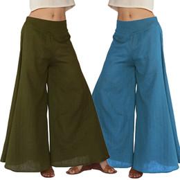 Wholesale Wide Leg Trousers Large - Large Plus Size Women Lady Girls Fashion Loose Mid-waist Cotton Wide Leg Trousers Pants Clothing 2981