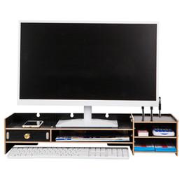 Wholesale Decorative Wood Storage Boxes - Home Storage Box Decorative Wood Desktop Monitor Stand Over Keyboard Desk Organizer Large Capacity Storage Box Case JC0602