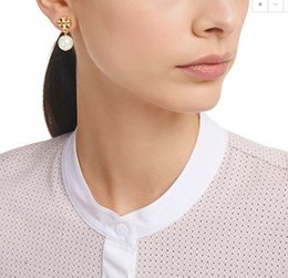 Wholesale Grey Earrings - Brand name Pearl beads 1.3cm stud Earring 18k gold plated women top quality jewelry White Grey color free shipping PS5673