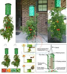 Wholesale Hanging Box Planters - 2017 new Garden Pots Topsy Turvy Planters Nursery Trays Lids 23x40cm Upside Down Hanging Planter System Tomatoes New In Initial Box