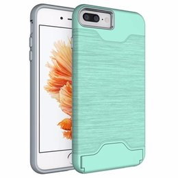Wholesale Chinese Brush Stand - For Apple iPhone 7 Plus PC + Silicone Dual Layer Drawing Brushed Texture Card Stand Case For iPhone7 Anti Shock Impact Cover