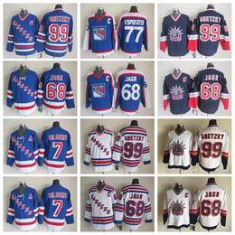 Wholesale Rangers Ccm Jersey - Men Throwback 77 Phil Esposito Jersey 99 Wayne Gretzky 68 Jaromir Jagr 7 Rod Gilbert New York Rangers Vintage Jerseys Ice Hockey CCM