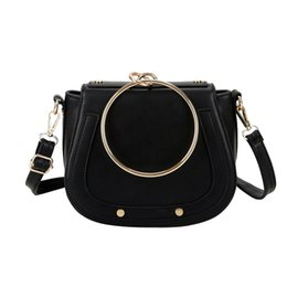 Wholesale Tote Bags Metal Handles - Luxury Brand Women Bags Designer Handbags High Quality Pu Leather Metal Ring Handle Small Women Shoulder Crossbody Bags