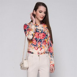 Wholesale Rivet Cross Blouse - Fashion Women Chiffon Blouses Women Flower Print Lapel Casual Chiffon Long Sleeved Shirts Women Tops free shipping TA182
