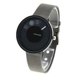 Wholesale Womage Colors - 100pcs lot WOMAGE 2 Colors Turntable Dial Steel Mesh Strap Watch Unisex Minimalist Design Alloy Wristwatch Wholesale