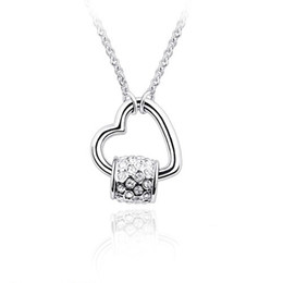 Wholesale genuine swarovski jewelry - top quality white gold color plated wedding jewelry heart pendant fashion necklace made with genuine Swarovski elements crystal