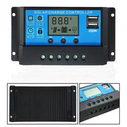 2019 mariposas de bisagra Al por mayor-10A paneles solares controlador de carga de batería 10/20/30 amperios regulador de la lámpara temporizador 12V 24VSolar paneles controlador de carga de la batería