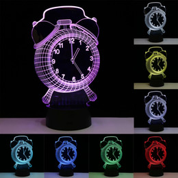 Wholesale Table Clocks For Kids - Wholesale- Alarm Clock Shape 3D Visual LED Night Lights for Kids 7 Colors Touch USB Table Besides Lampe Baby Sleeping Nightlight