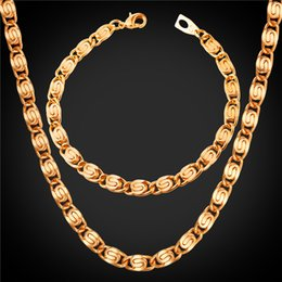 U7 6MM 21CM Snail Chain Necklace Bracelets Sets Gold Platinum Black Rose Gold Plated Fashion Chains Set Men Jewelry Set Perfect Gifts NH2516 Deals