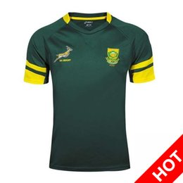 Wholesale Africa Jersey - Rugby shirt Top quality 2016 2017 South Africa rugby jerseys 16 17 rugby shirts Springboks Outdoor sportswear Size S-2XL South African Sprin