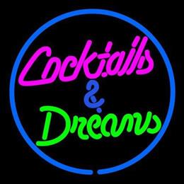 cocktails träume neonschild Rabatt COCKTAILS TRÄUME Leuchtreklame Real Glasrohr Bar Pub Shop Business Werbung Dekoration Kunst Geschenk Display Metallrahmen Größe 17