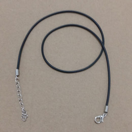Wholesale Necklace Making Cords Clasps - 100pcs Lot 2mm Length 45cm Black Waxed Necklace Cord Chain (5cm Extension Chain) With Lobster Clasp Jewelry Making For Pendant Necklace