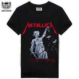Wholesale Man Metal Neck - [Men bone] Men T Shirt Black T-Shirt Cotton Metallica Print Heavy Metal Rock Hip Hop Punk Clothing Summer Tee