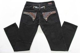 Wholesale Classic Trousers For Men - Men's Straight Jeans Classic Denim Trousers Biker Jeans For Men High Quality Motorcycle Jeans Fried Snow Rhinestone Decoration Wings