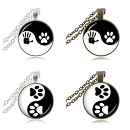 Wholesale Jewelry For Dog Lovers - Yin Yang Necklace Pet Paw Print Pendant Handprint Art Charm Tai Ji Jewelry Zen Religious Ying Yang Necklace Gifts for Dog Animal Lover