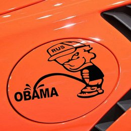 Wholesale Car Tank Cover - Wholesale 10pcs lot 16*12.5CM Funny Russian Bad Boy Pee Anti OBAMA Reflective Car Stickers Motorcycle Decals Tank Cover Decoration